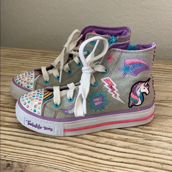Girls Skechers Twinkle Toes Twinkle Brights High Top Size 13